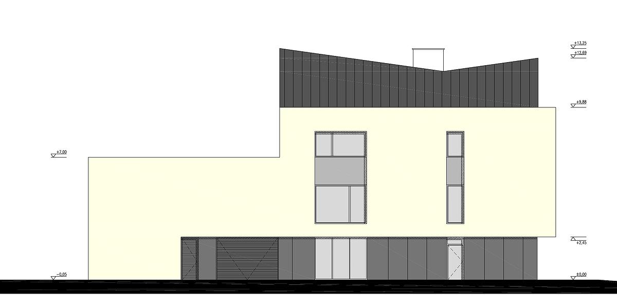 Projekt przebudowy budynku na Partynicach -- elewacja wschodnia