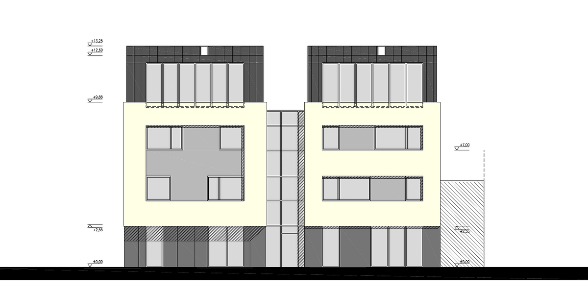 Projekt przebudowy budynku na Partynicach -- elewacja północna